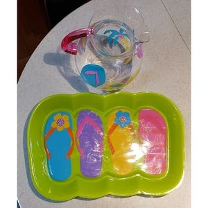 PITCHER/SERVING TRAY--Cute, Colorful For Summer!